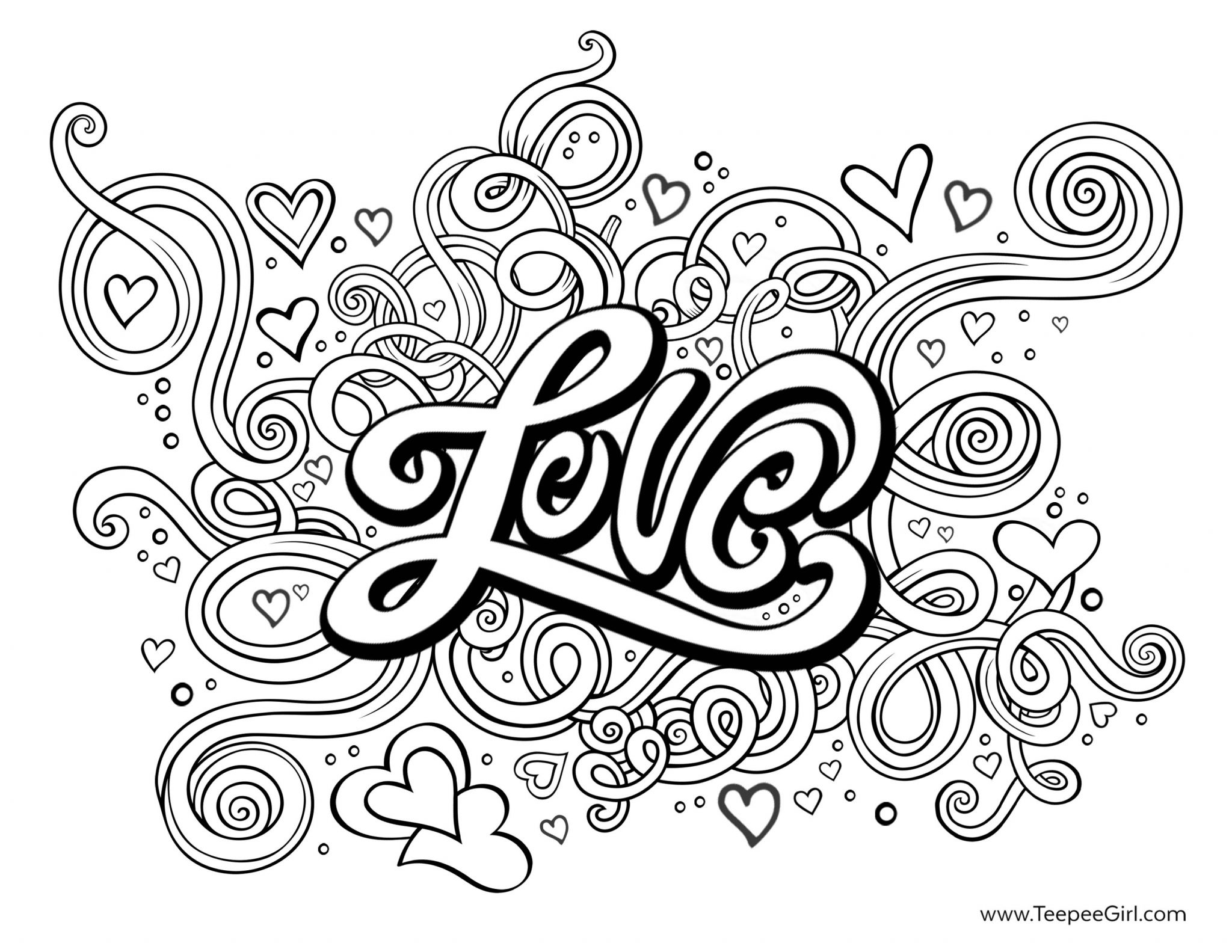 love hearts coloring pages - photo#1