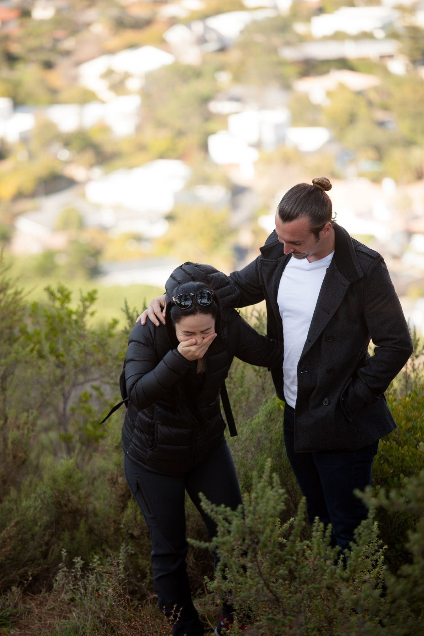 David and Sam marriage proposal on Lions Head