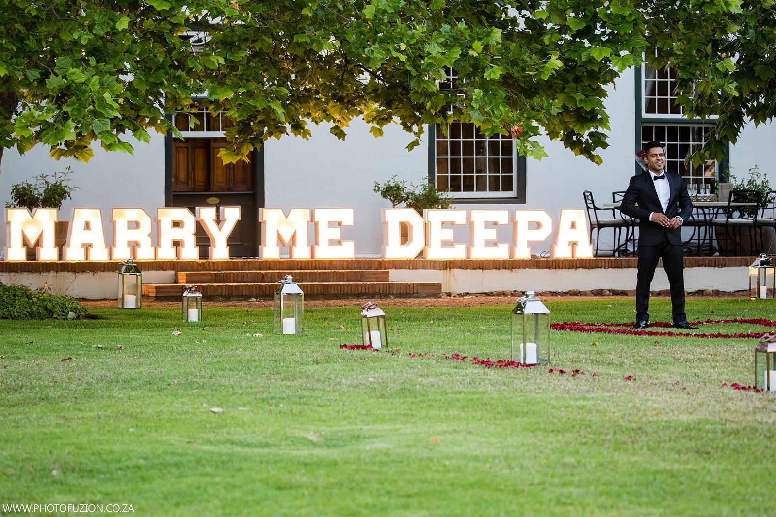 Sasheen and Deepa giant lights proposal
