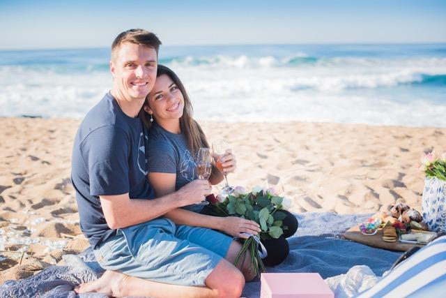 Shaun and Chane champagne breakfast proposal