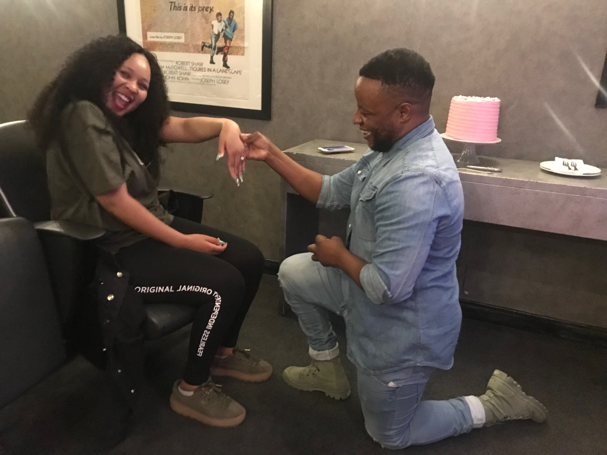 Thabo and Elizabeth private cinema proposal
