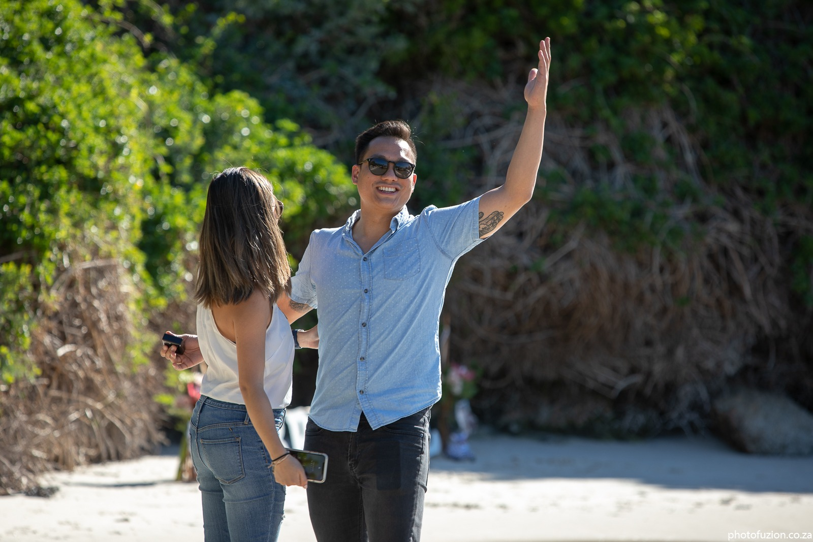 Truman and Tiffany boulders beach proposal